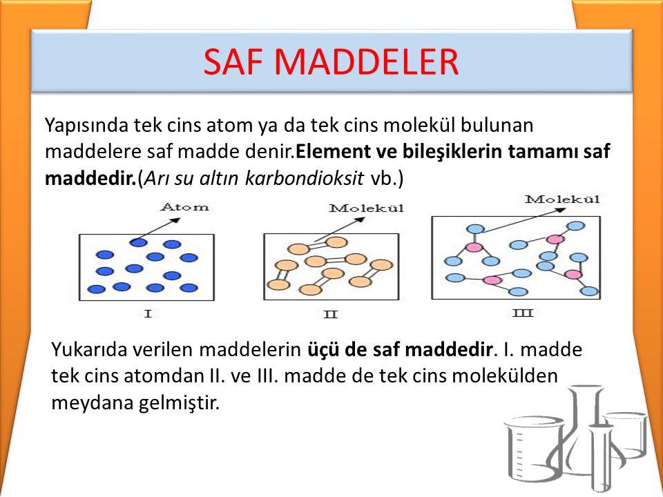SAF MADDELER Yapısında tek cins atom ya da tek cins molekül bulunan maddelere saf madde denir.Element ve bileşiklerin tamamı saf maddedir.(Arı su altı