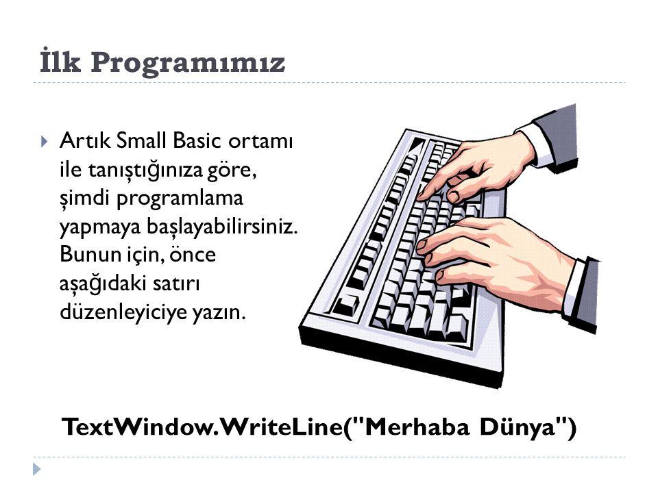 İ lk Programımız: TextWindow.WriteLine( Merhaba Dünya )