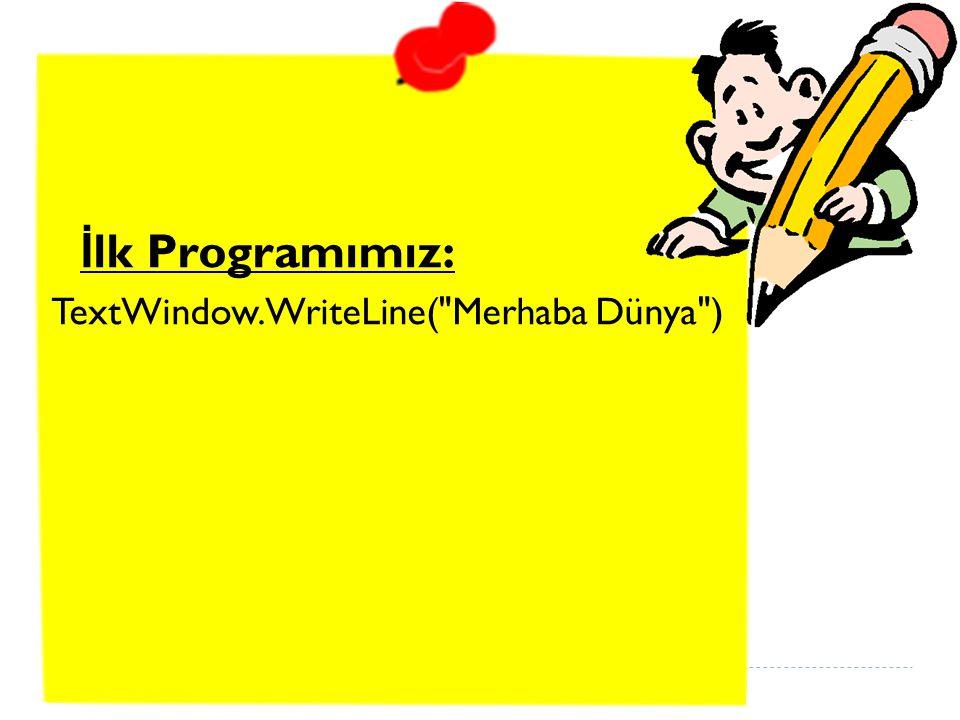 Bu bizim ilk programımız. E ğ er do ğ ru yazdıysanız, aşa ğ ıdaki şekle benzer görünmelidir.