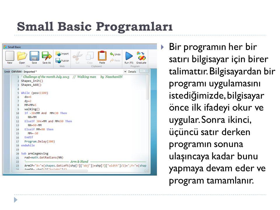 İlk Programımıza Geri Dönelim  İ şte yazdı ğ ımız ilk program: TextWindow.WriteLine( Merhaba Dünya )  Bu tek bir ifadeden oluşan program, bilgisayara Merhaba Dünya metnini Metin Penceresine yazmasını söylüyor.