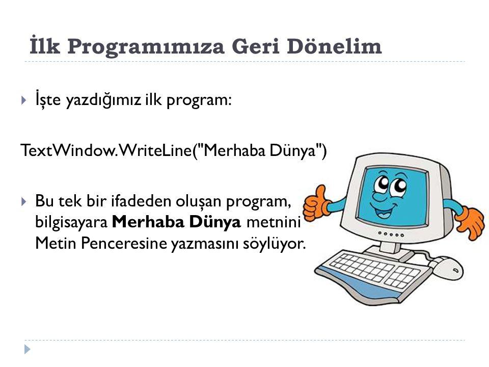 İlk Programımıza Geri Dönelim TextWindow.WriteLine( Merhaba Dünya )  Bu ifadede, 3 ayrı bölüm bulunuyor: a) TextWindow b) WriteLine c) Merhaba Dünya