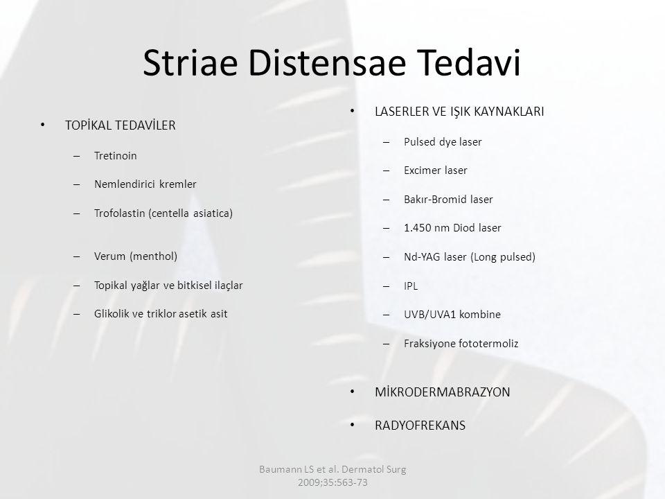 Striae Distensae Tedavi TOPİKAL TEDAVİLER – Tretinoin – Nemlendirici kremler – Trofolastin (centella asiatica) – Verum (menthol) – Topikal yağlar ve b
