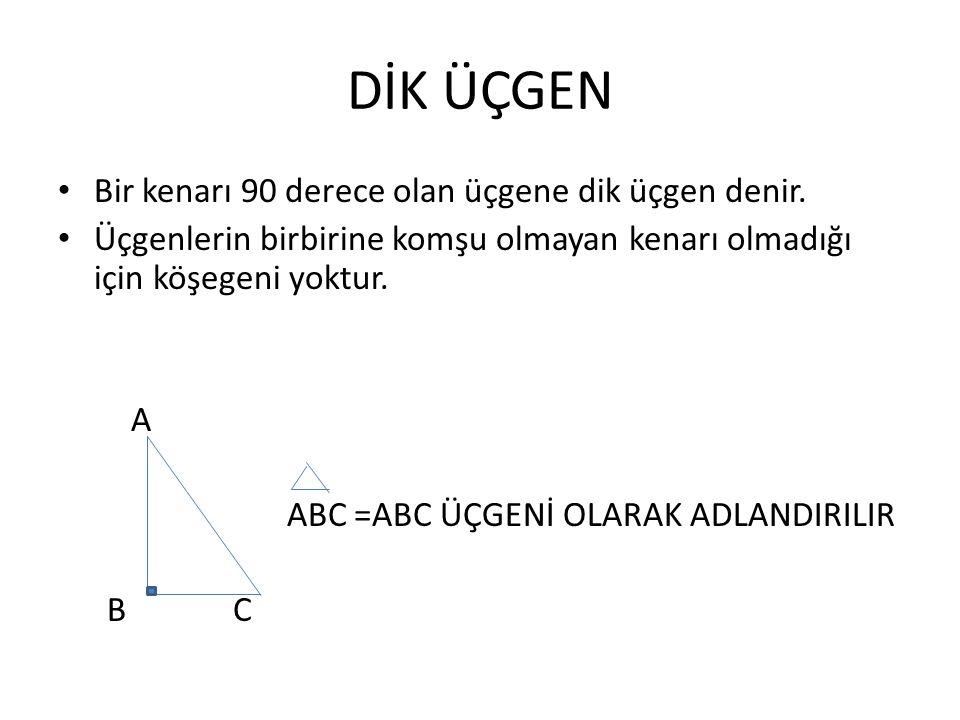 DİK ÜÇGEN Bir kenarı 90 derece olan üçgene dik üçgen denir. Üçgenlerin birbirine komşu olmayan kenarı olmadığı için köşegeni yoktur. A ABC =ABC ÜÇGENİ
