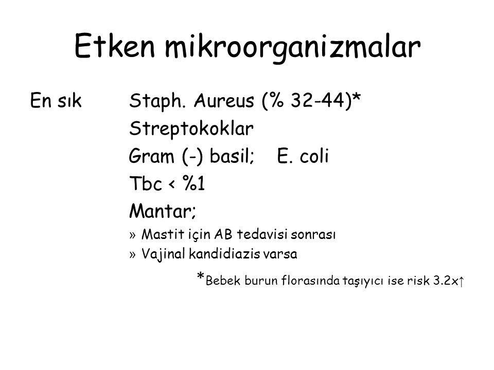 Etken mikroorganizmalar En sık Staph. Aureus (% 32-44)* Streptokoklar Gram (-) basil;E. coli Tbc < %1 Mantar; » Mastit için AB tedavisi sonrası » Vaji