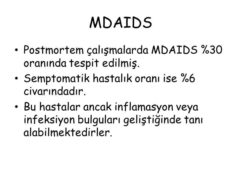 Postmortem çalışmalarda MDAIDS %30 oranında tespit edilmiş. Semptomatik hastalık oranı ise %6 civarındadır. Bu hastalar ancak inflamasyon veya infeksi