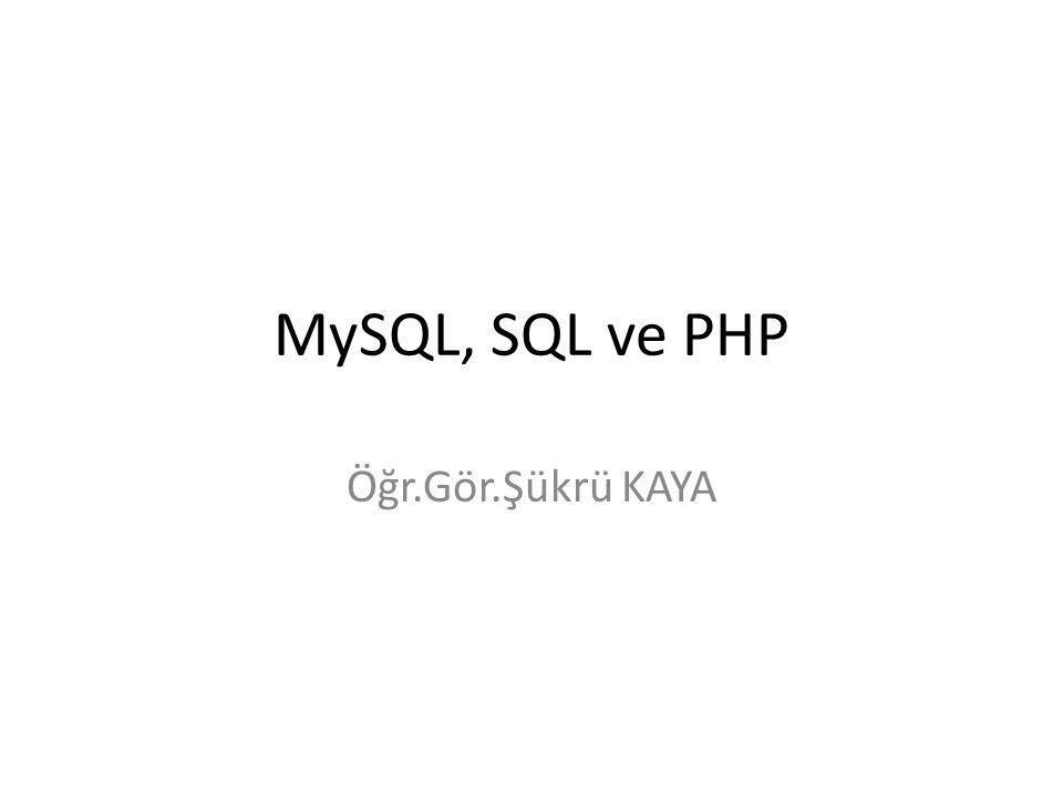 MySQL Veritabanı Sorgu Sonuçları 2. Yöntem Öğr.Gör.Şükrü KAYA