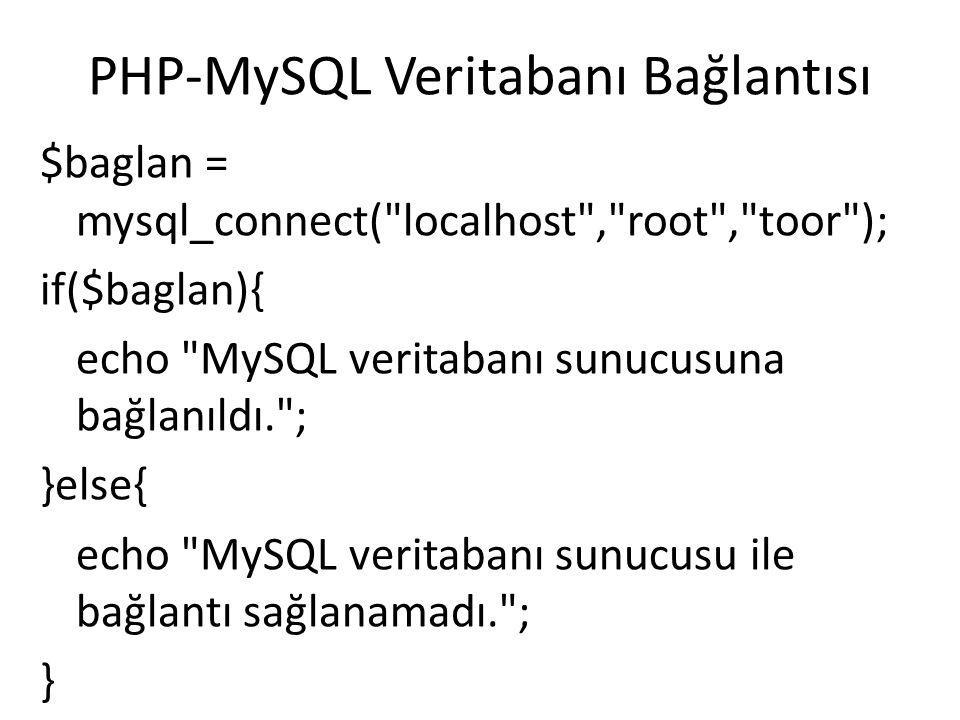 PHP-MySQL Veritabanı Seçimi mysql_select_db(VeritabanıAdı, BağlantıNo) Not: mysql_select_db() fonksiyonu TRUE ya da FALSE değeri döndürür.