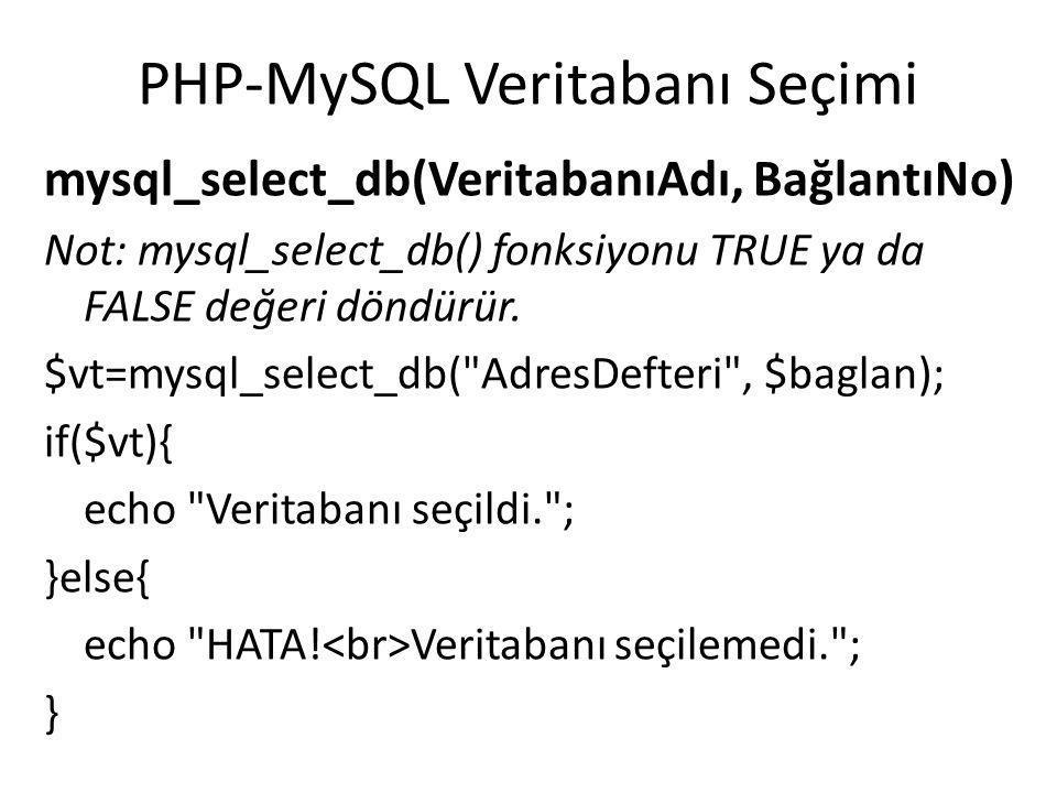 MySQL Veritabanı Sorgulama mysql_query(Sorgu, BağlantıNo) $sorgu = SELECT * FROM Adresler ; $sorgu_sonuc = mysql_query($sorgu, $baglan); if(!$sorgu_sonuc){ echo HATA.
