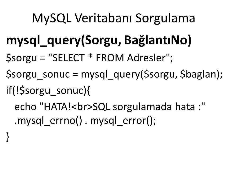 PHP-MySQL Veritabanı Bağlantısı Kapatma mysql_close(BağlantıNo) mysql_close($baglan);