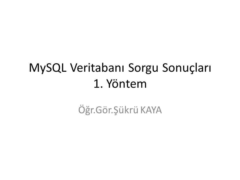 PHP-MySQL Veritabanı Sorgu Sonuçları mysql_fetch_array(sorgu_sonucu) Not: Sorgu sonucunda ilk kaydı alır.