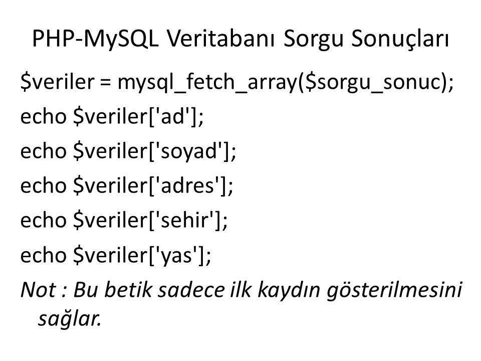 PHP-MySQL Veritabanı Sorgu Sonuçları mysql_fetch_array() fonksiyonu ile tüm kayıtları almak için WHILE kontrol yapısı kullanılabilir.