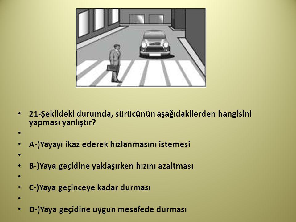 21-Şekildeki durumda, sürücünün aşağıdakilerden hangisini yapması yanlıştır.