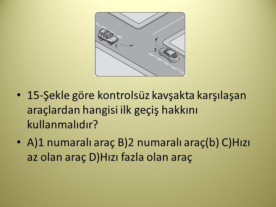 15-Şekle göre kontrolsüz kavşakta karşılaşan araçlardan hangisi ilk geçiş hakkını kullanmalıdır.