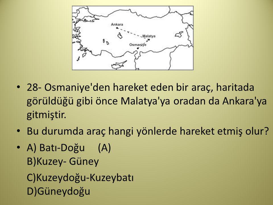 28- Osmaniye den hareket eden bir araç, haritada görüldüğü gibi önce Malatya ya oradan da Ankara ya gitmiştir.