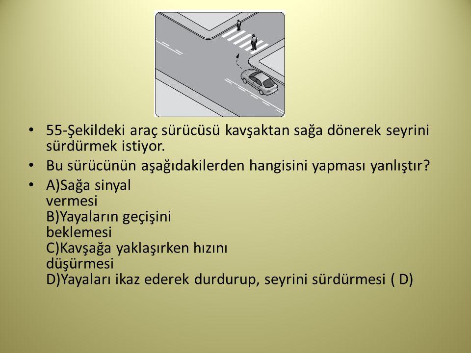 55-Şekildeki araç sürücüsü kavşaktan sağa dönerek seyrini sürdürmek istiyor.