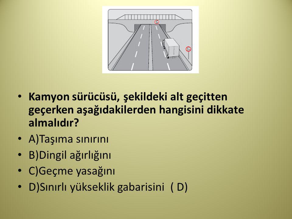 Kamyon sürücüsü, şekildeki alt geçitten geçerken aşağıdakilerden hangisini dikkate almalıdır.