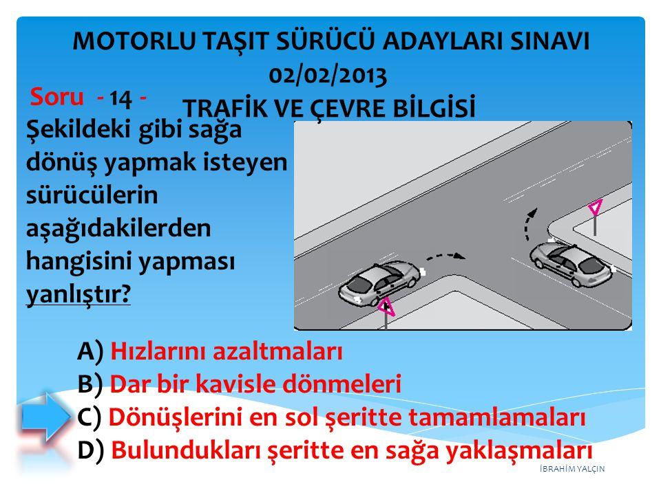 İBRAHİM YALÇIN Şekildeki gibi sağa dönüş yapmak isteyen sürücülerin aşağıdakilerden hangisini yapması yanlıştır? Soru - 14 - A) Hızlarını azaltmaları