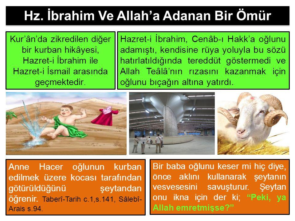 Hz. İbrahim Ve Allah'a Adanan Bir Ömür Kur'ân'da zikredilen diğer bir kurban hikâyesi, Hazret-i İbrahim ile Hazret-i İsmail arasında geçmektedir. Hazr