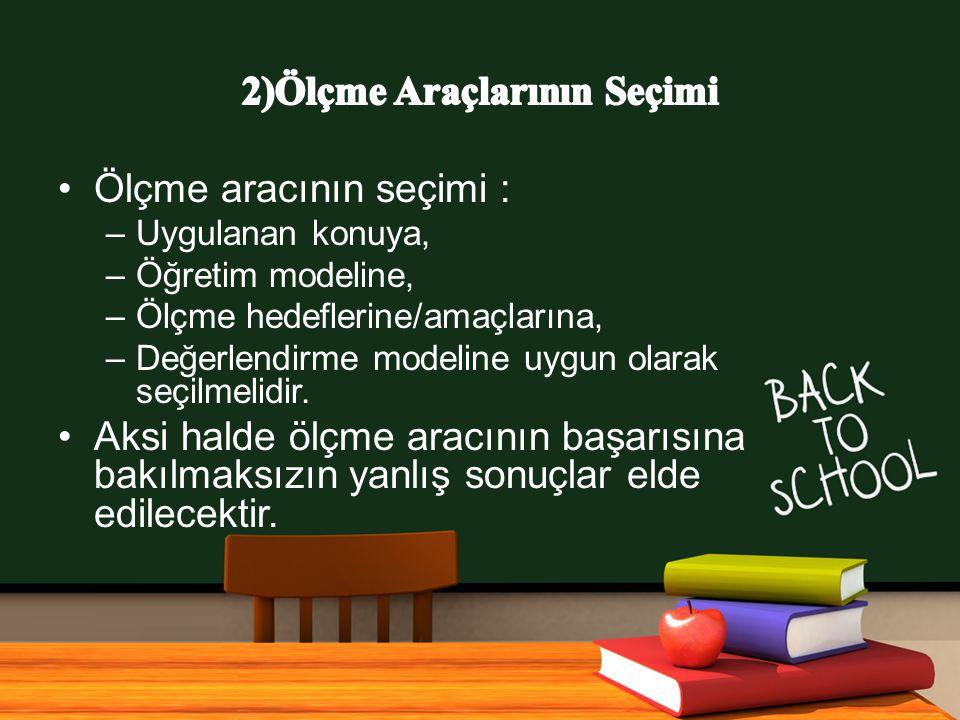 www.free-ppt-templates.com Ölçme aracının seçimi : –Uygulanan konuya, –Öğretim modeline, –Ölçme hedeflerine/amaçlarına, –Değerlendirme modeline uygun olarak seçilmelidir.