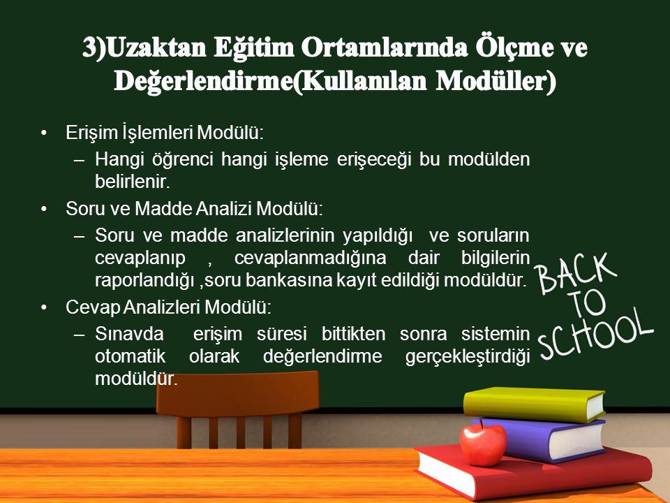 www.free-ppt-templates.com Erişim İşlemleri Modülü: –Hangi öğrenci hangi işleme erişeceği bu modülden belirlenir.