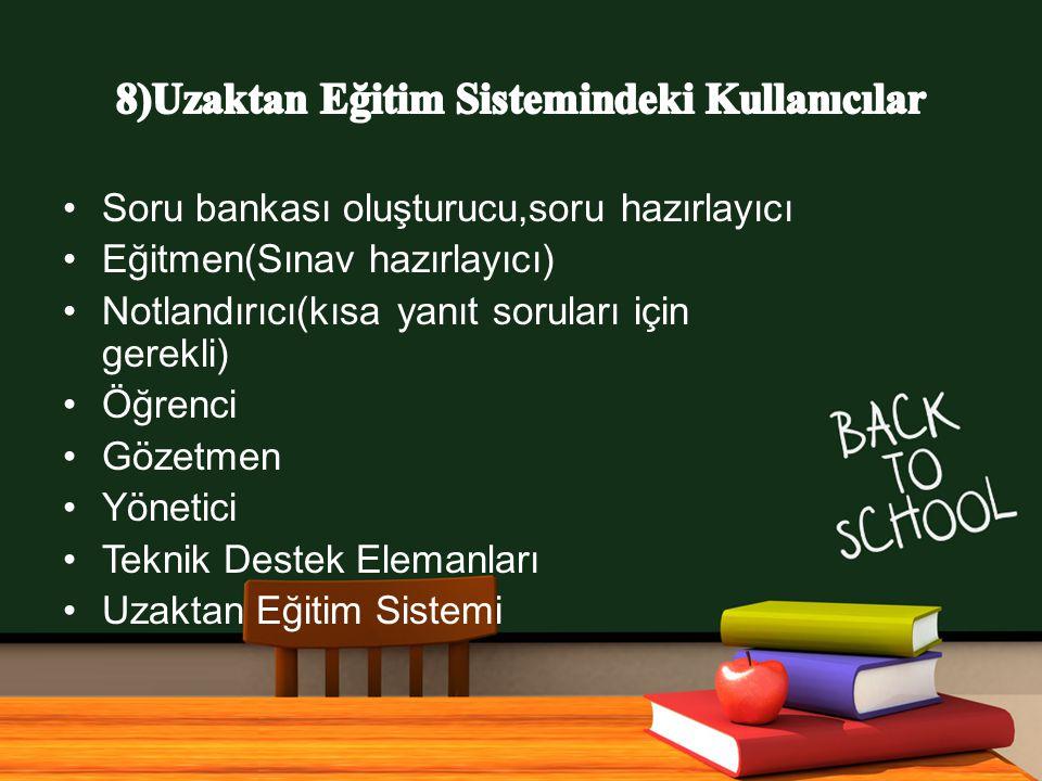 www.free-ppt-templates.com Soru bankası oluşturucu,soru hazırlayıcı Eğitmen(Sınav hazırlayıcı) Notlandırıcı(kısa yanıt soruları için gerekli) Öğrenci Gözetmen Yönetici Teknik Destek Elemanları Uzaktan Eğitim Sistemi