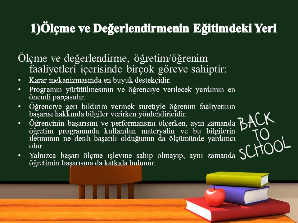 www.free-ppt-templates.com Ölçme ve değerlendirme, öğretim/öğrenim faaliyetleri içerisinde birçok göreve sahiptir: Karar mekanizmasında en büyük destekçidir.