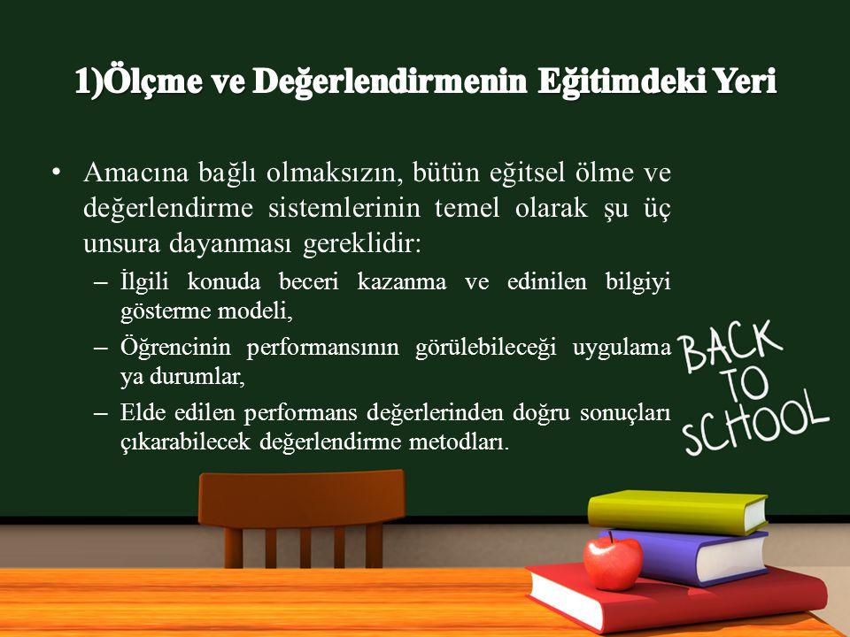 www.free-ppt-templates.com Amacına bağlı olmaksızın, bütün eğitsel ölme ve değerlendirme sistemlerinin temel olarak şu üç unsura dayanması gereklidir: – İlgili konuda beceri kazanma ve edinilen bilgiyi gösterme modeli, – Öğrencinin performansının görülebileceği uygulama ya durumlar, – Elde edilen performans değerlerinden doğru sonuçları çıkarabilecek değerlendirme metodları.