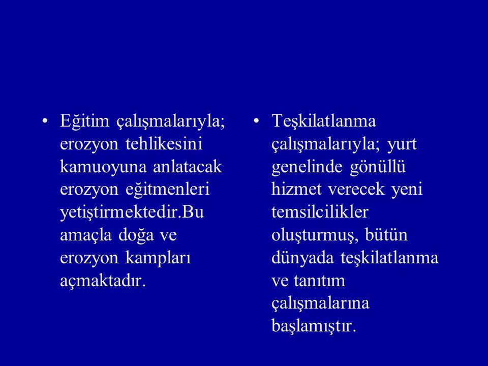TEMA VAKFININ YAPTIĞI ÇALIŞMALAR Tanıtım çalışmalarıyla;Türkiye 'deki erozyon ve çölleşme gerçeğini çeşitli yollarla her kesime anlatıp kamuoyu desteğ