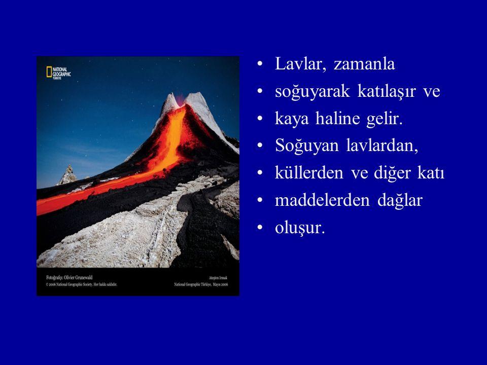 Çevremizde ve yeryüzünde görülen dağlar, genellikle yer kabuğunun çeşitli etkilerle değişmesi sonucu oluşur. Yanardağlardan; sıcak gazlar, su buharı,