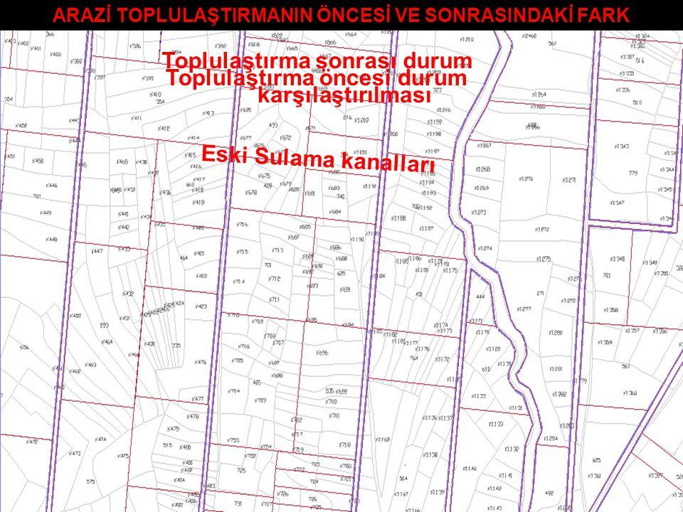 ARAZİ TOPLULAŞTIRMANIN ÖNCESİ VE SONRASINDAKİ FARK Toplulaştırma öncesi durum Eski Sulama kanalları Toplulaştırma sonrası durum karşılaştırılması