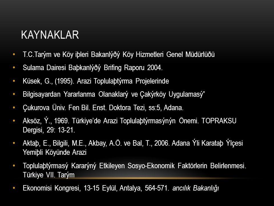 KAYNAKLAR T.C.Tarým ve Köy iþleri Bakanlýðý Köy Hizmetleri Genel Müdürlüðü Sulama Dairesi Baþkanlýðý Brifing Raporu 2004. Küsek, G., (1995). Arazi Top