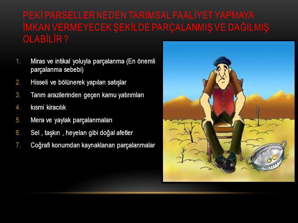 KAYNAKLAR Tarım Reformu Genel Müdürlüğü Tunçdilek, N., (1985).