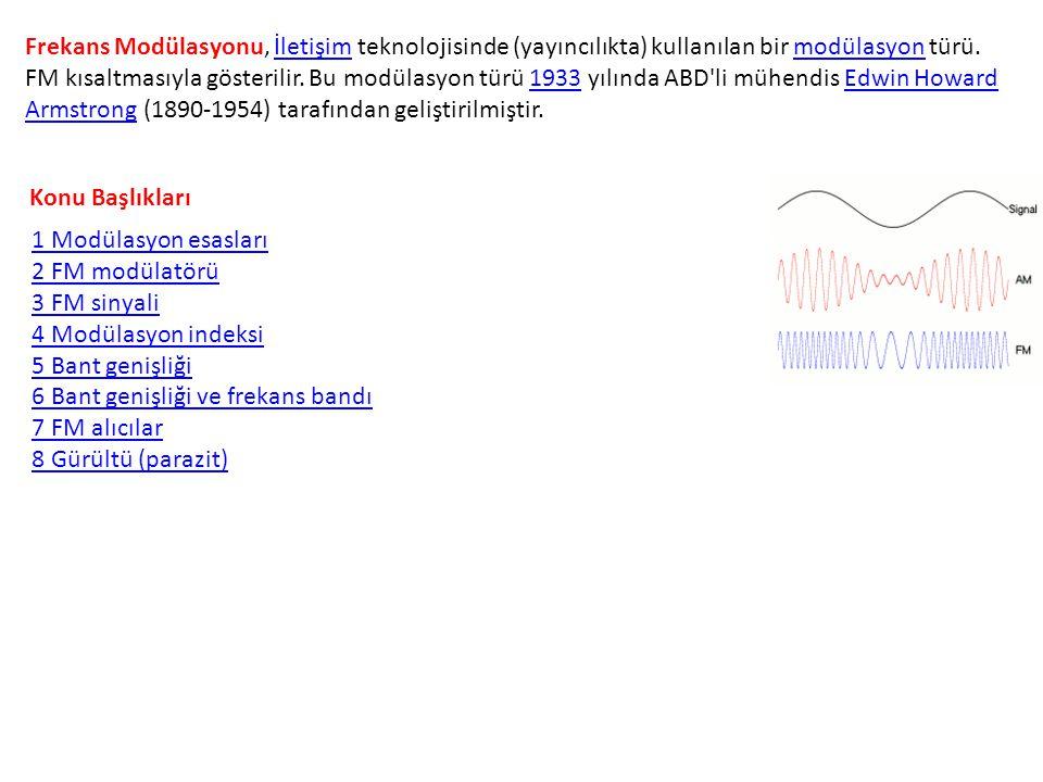 Frekans Modülasyonu, İletişim teknolojisinde (yayıncılıkta) kullanılan bir modülasyon türü. FM kısaltmasıyla gösterilir. Bu modülasyon türü 1933 yılın