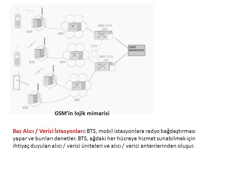 GSM'in lojik mimarisi Baz Alıcı / Verici İstasyonları: BTS, mobil istasyonlara radyo bağdaştırması yapar ve bunları denetler. BTS, ağdaki her hücreye
