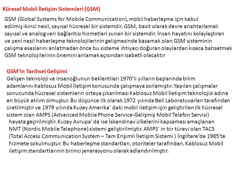 Küresel Mobil İletişim Sistemleri (GSM) GSM (Global Systems for Mobile Communication), mobil haberleşme için kabul edilmiş ikinci nesil, sayısal hücre