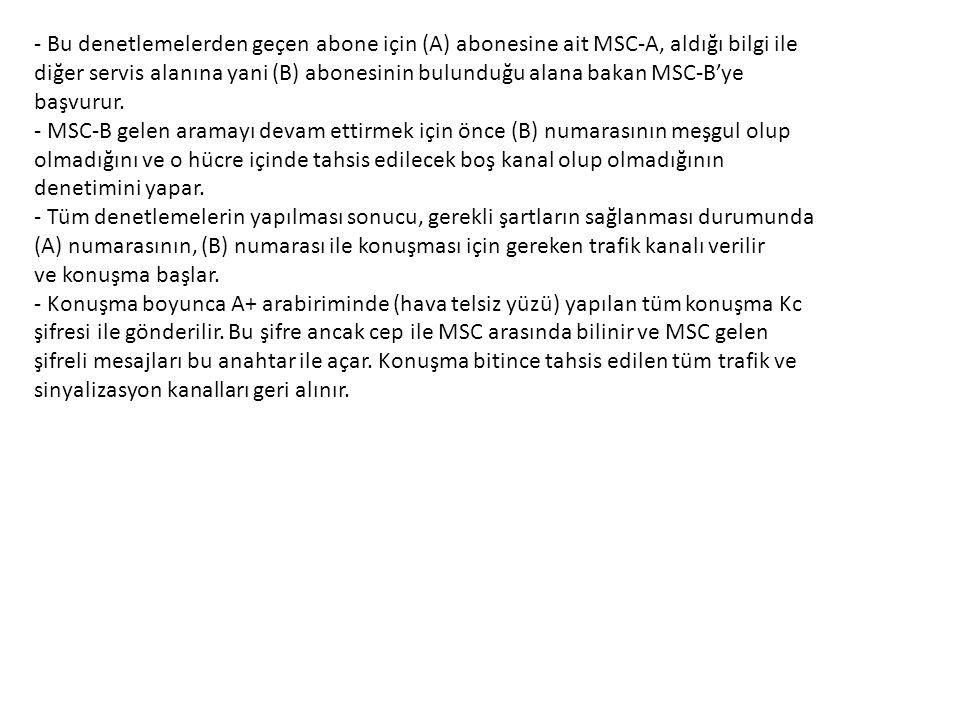 - Bu denetlemelerden geçen abone için (A) abonesine ait MSC-A, aldığı bilgi ile diğer servis alanına yani (B) abonesinin bulunduğu alana bakan MSC-B'y
