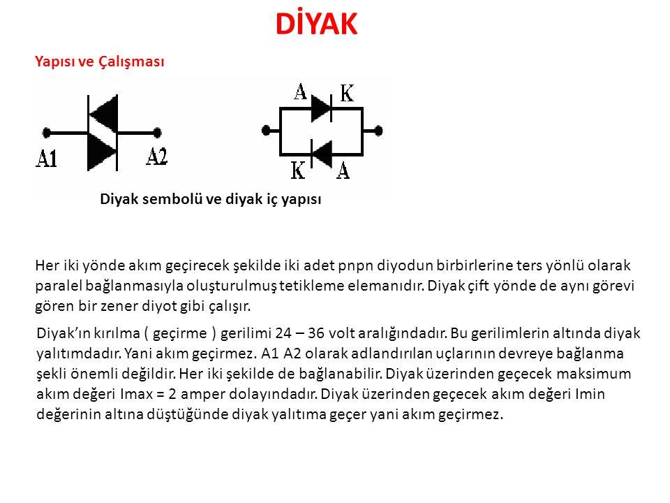 DİYAK Yapısı ve Çalışması Diyak sembolü ve diyak iç yapısı Her iki yönde akım geçirecek şekilde iki adet pnpn diyodun birbirlerine ters yönlü olarak p