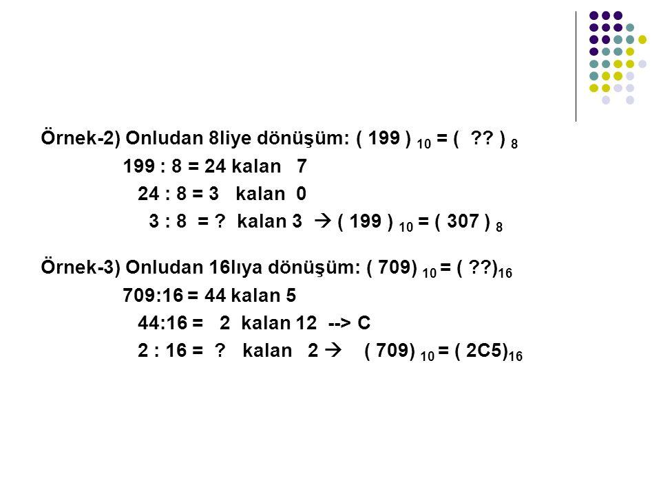Örnek-2) Onludan 8liye dönüşüm: ( 199 ) 10 = ( ?.