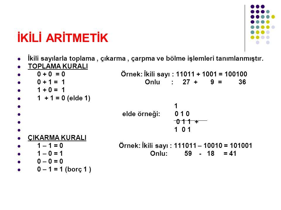 İKİLİ ARİTMETİK İkili sayılarla toplama, çıkarma, çarpma ve bölme işlemleri tanımlanmıştır.