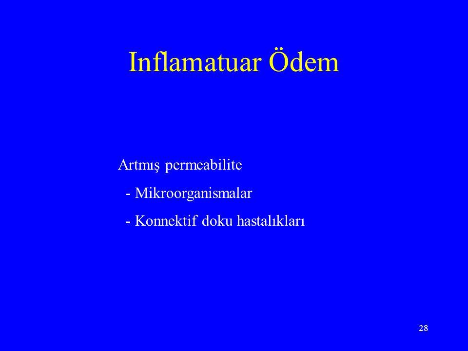 28 Inflamatuar Ödem Artmış permeabilite - Mikroorganismalar - Konnektif doku hastalıkları