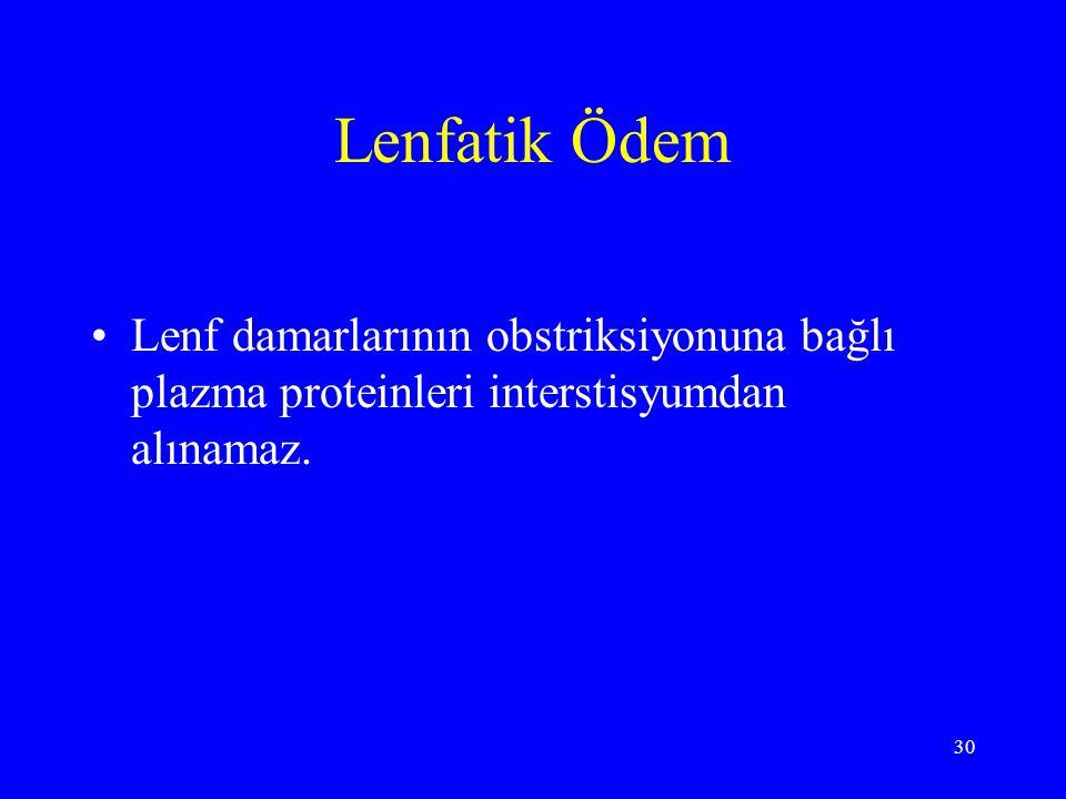 30 Lenfatik Ödem Lenf damarlarının obstriksiyonuna bağlı plazma proteinleri interstisyumdan alınamaz.