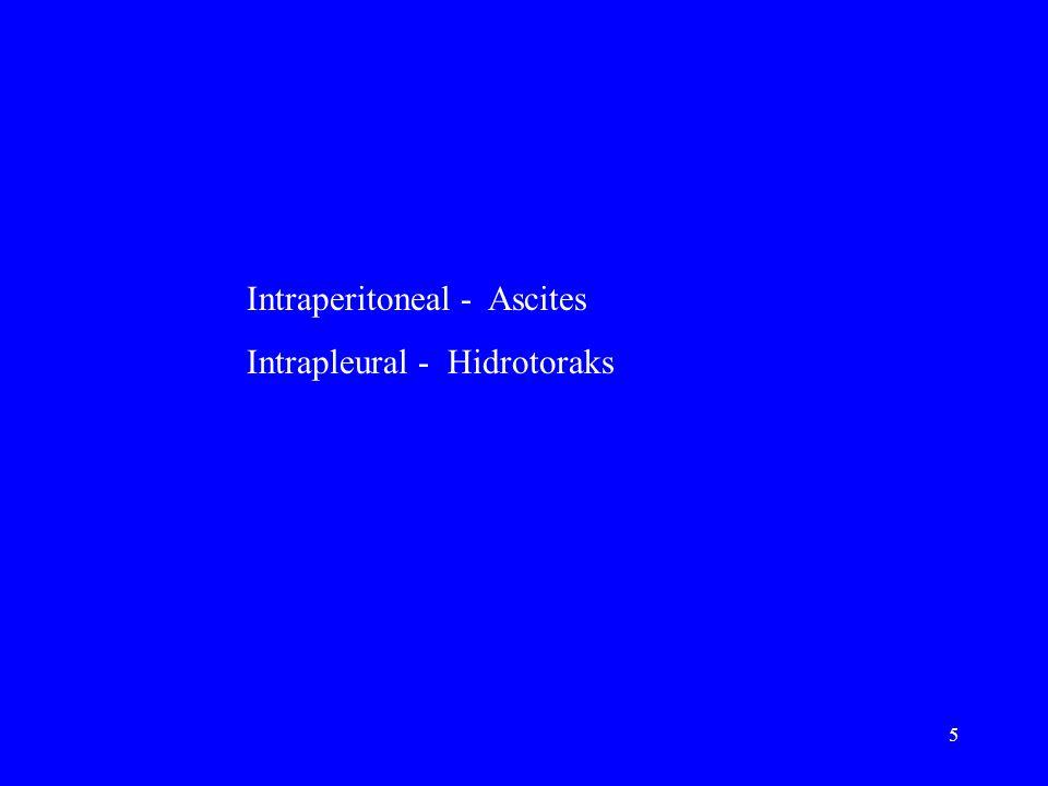 5 Intraperitoneal - Ascites Intrapleural - Hidrotoraks