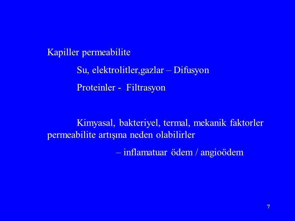 7 Kapiller permeabilite Su, elektrolitler,gazlar – Difusyon Proteinler - Filtrasyon Kimyasal, bakteriyel, termal, mekanik faktorler permeabilite artışına neden olabilirler – inflamatuar ödem / angioödem
