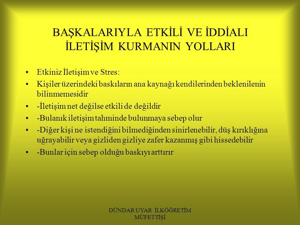 DÜNDAR UYAR İLKÖĞRETİM MÜFETTİŞİ 2.Başarıları kutlamak 3.