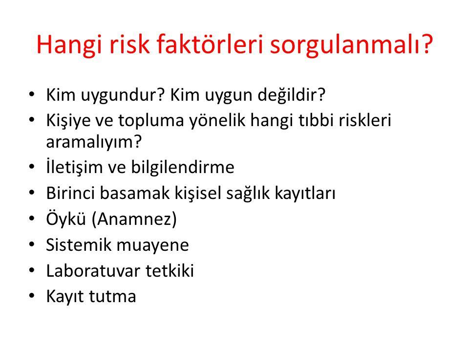 Hangi risk faktörleri sorgulanmalı? Kim uygundur? Kim uygun değildir? Kişiye ve topluma yönelik hangi tıbbi riskleri aramalıyım? İletişim ve bilgilend