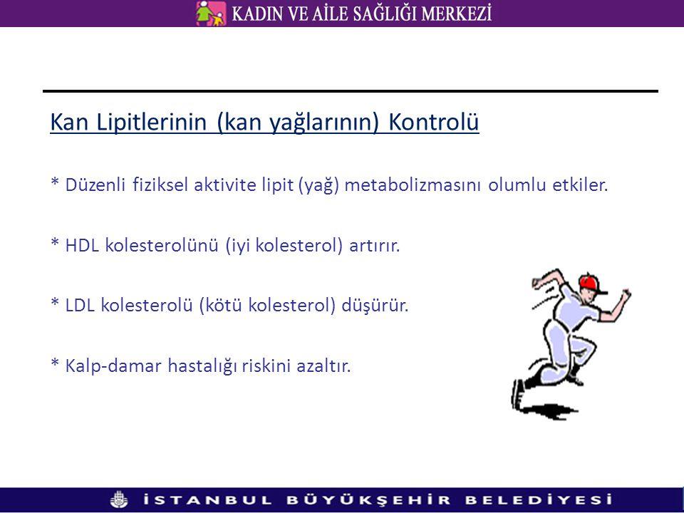 Kan Lipitlerinin (kan yağlarının) Kontrolü * Düzenli fiziksel aktivite lipit (yağ) metabolizmasını olumlu etkiler. * HDL kolesterolünü (iyi kolesterol