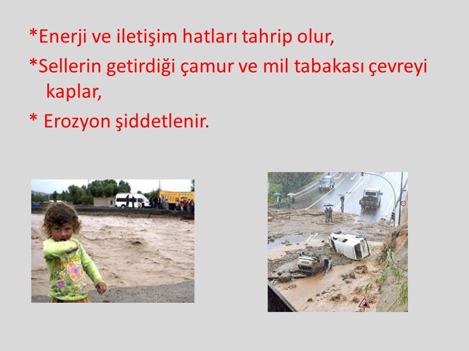 *Enerji ve iletişim hatları tahrip olur, *Sellerin getirdiği çamur ve mil tabakası çevreyi kaplar, * Erozyon şiddetlenir.