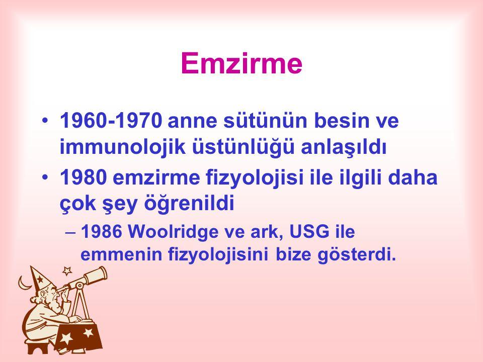 Emzirme 1960-1970 anne sütünün besin ve immunolojik üstünlüğü anlaşıldı 1980 emzirme fizyolojisi ile ilgili daha çok şey öğrenildi –1986 Woolridge ve ark, USG ile emmenin fizyolojisini bize gösterdi.