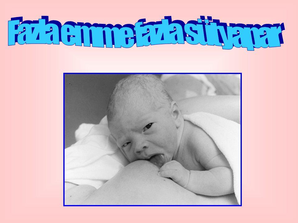 OKSİTOSİN REFLEKSİ İyi duygular, Bebeğiyle mutlu olmak, Sevgiyle onu düşünmek, Sütünün onun için en iyi besin olduğunu düşünmek, Bebeğini görmek, Ona dokunmak, Bağırdığını duymak, oksitosin refleksini harekete geçirir.