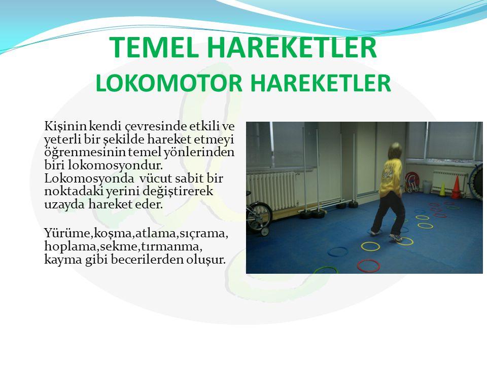 TEMEL HAREKETLER LOKOMOTOR HAREKETLER Kişinin kendi çevresinde etkili ve yeterli bir şekilde hareket etmeyi öğrenmesinin temel yönlerinden biri lokomo